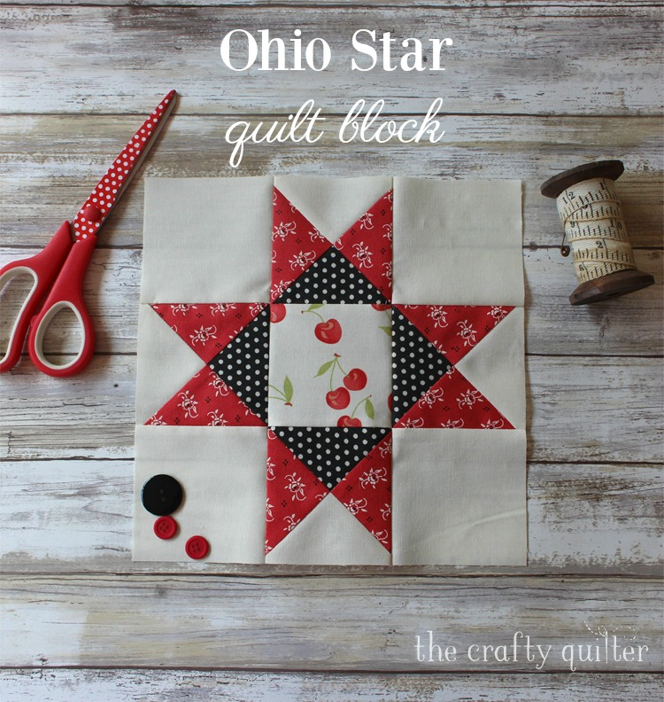 Quarter Square Triangle Tutorial @ The Crafty Quilter.  Includes instructions to make this adorable Ohio Star block!