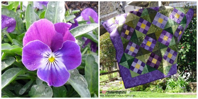 Purple Pansy Quilt @ The Crafty Quilter