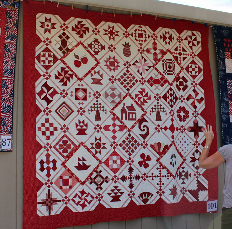 red and white quilt