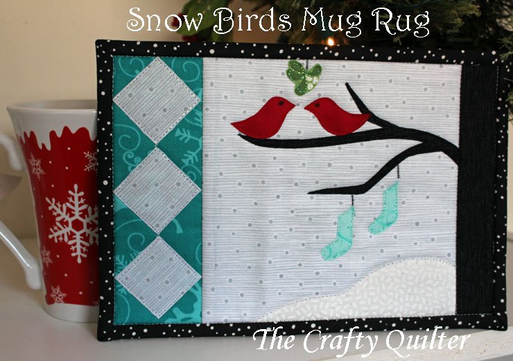 Snow Birds Mug Rug Tutorial @ The Crafty Quilter