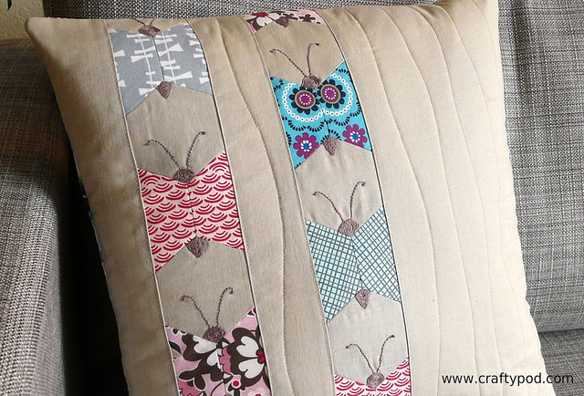 Hexie Butterfly Pillow @ Craftypod