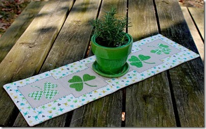 Linen & Shamrock Table Runner @ Busy Bee Quilts