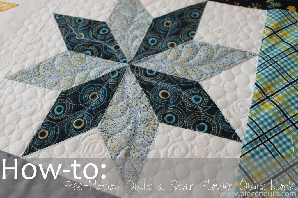 how to free motion quilt a star flower quilt block by natalia bonner