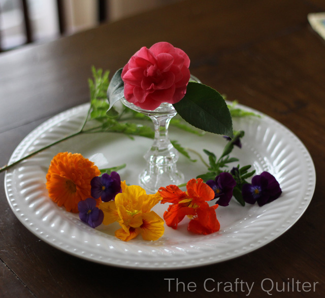 flowers on plate side