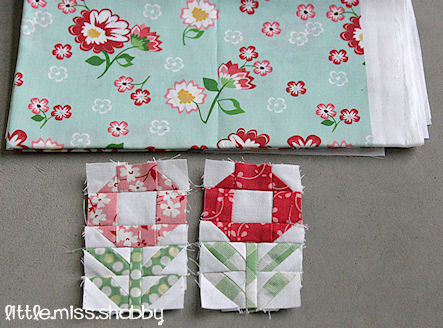 Mini Posies Quilt block tutorial @ Little Miss Shabby
