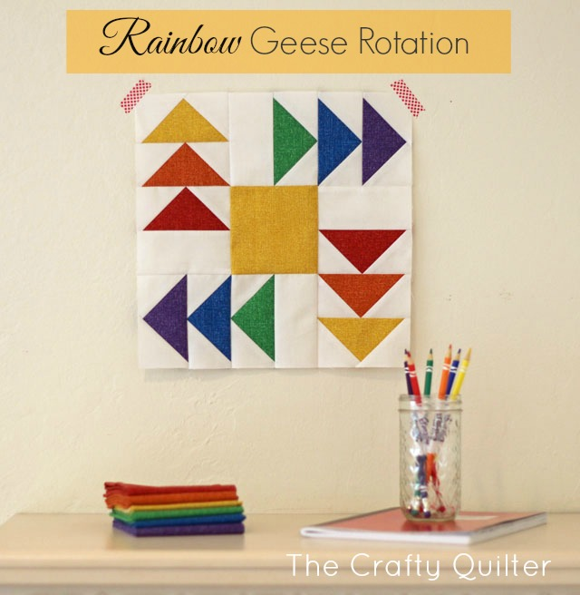 Rainbow Geese Rotation block by Julie Cefalu @ The Crafty Quilter for Benartex.