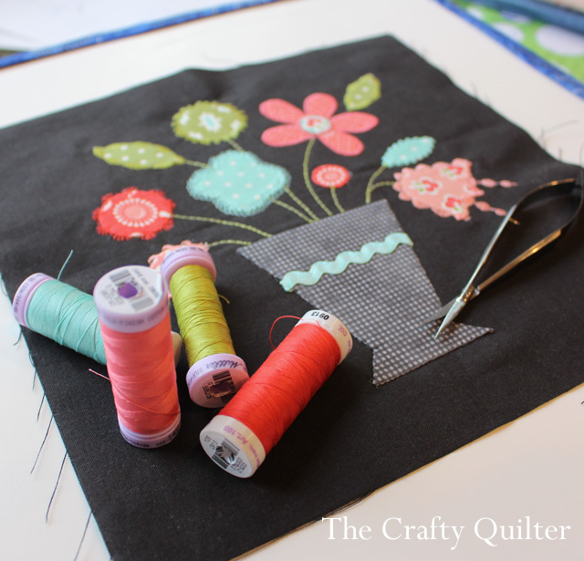 How to use embroidery stitches with applique @ The Crafty Quilter