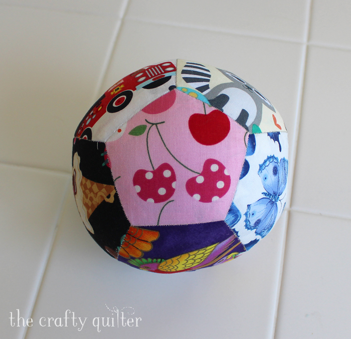 Patchwork Play Ball made by Julie Cefalu using English paper piecing with pentagons