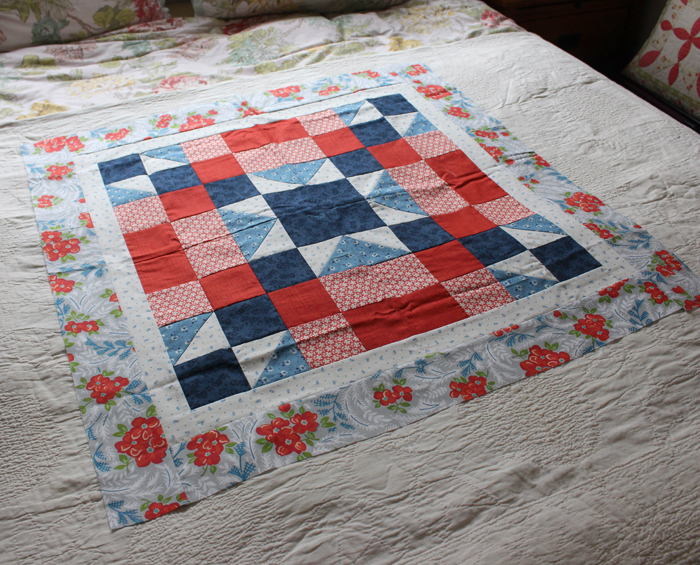beg quilt sample on bed