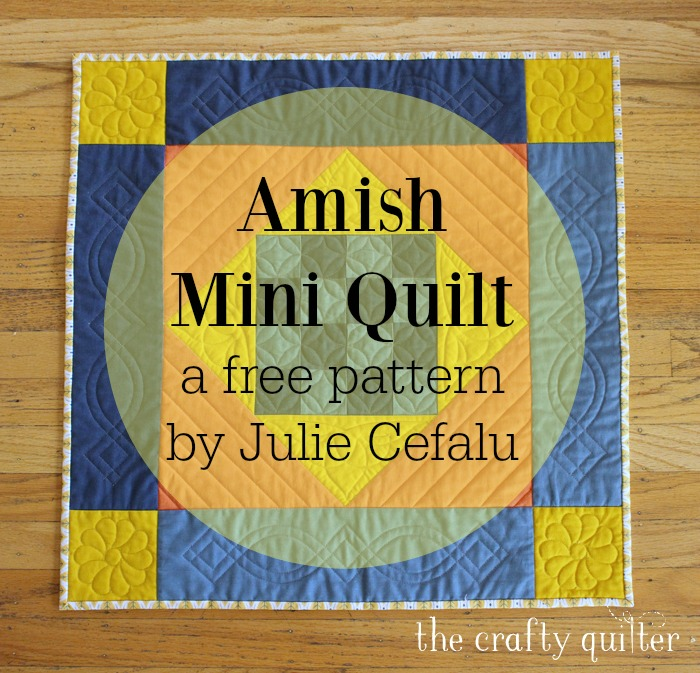 Amish Mini Quilt, a free pattern by Julie Cefalu @ The Crafty Quilter. Includes an option to add applique suitable for the holidays and it's mini charm pack friendly!