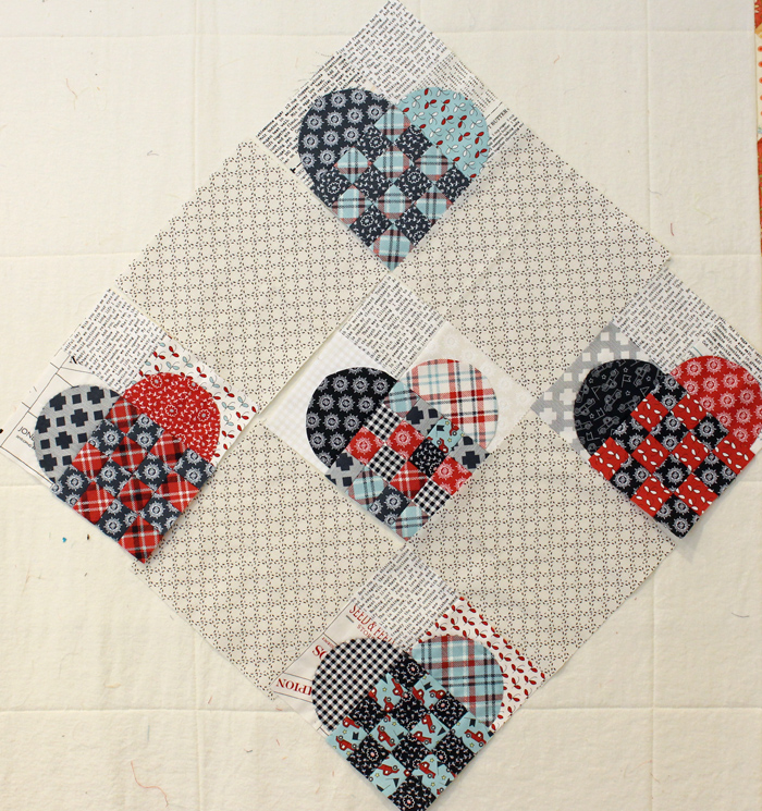 Woven Hearts set on point at The Crafty Quilter