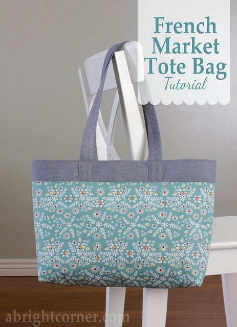 French Market Tote Bag Tutorial by Andy at A Bright Corner