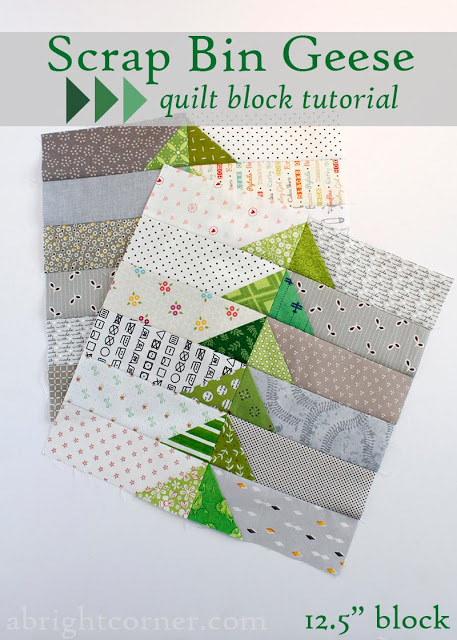 Scrap Bin Quilt Block Tutorial by Amy at A Bright Corner