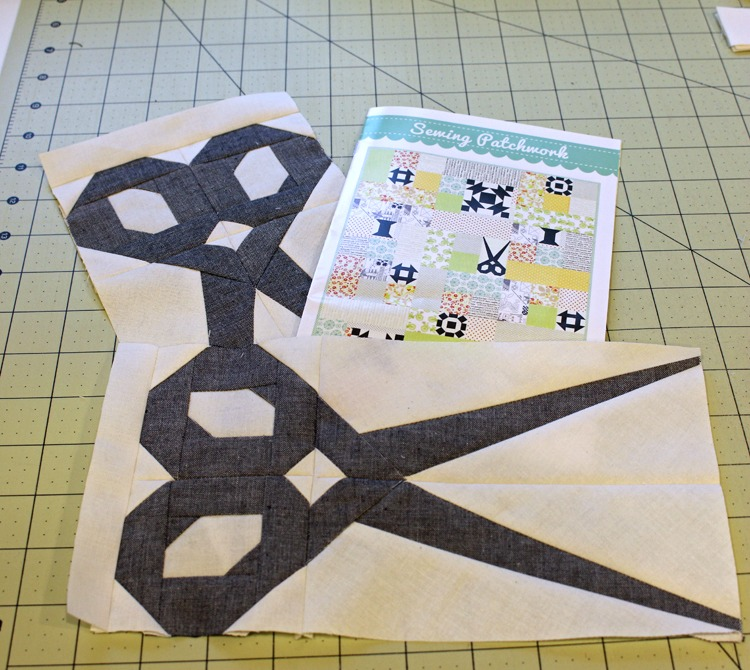Sewing Patchwork pattern with scissors block @ The Crafty Quilter