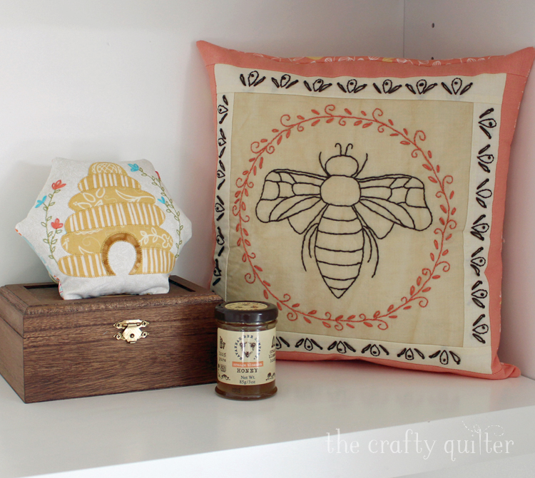 Bee pillow and bee hive pincushion made by Julie Cefalu for The Art of Home Club