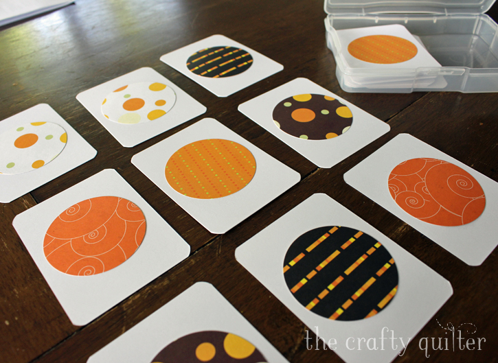 Matching game made by Julie Cefalu @ The Crafty Quilter