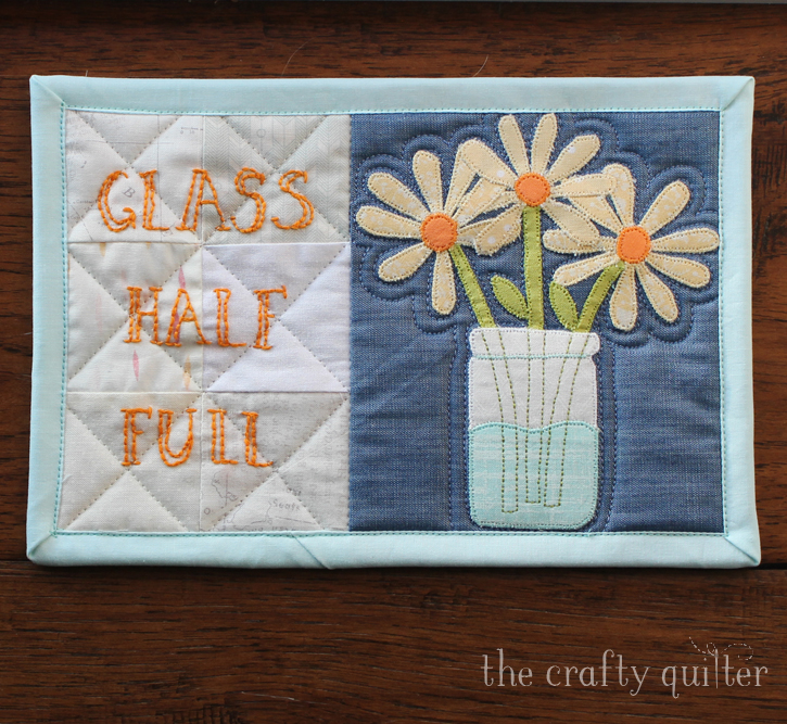 Friday Finish:  Glass Half Full Mug Rug by Julie Cefalu, free tutorial @ The Crafty Quilter