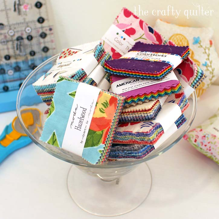 """Mini Charm Pack Ideas to use up those pre-cut 2 1/2"""" squares - from Julie @ The Crafty Quilter"""