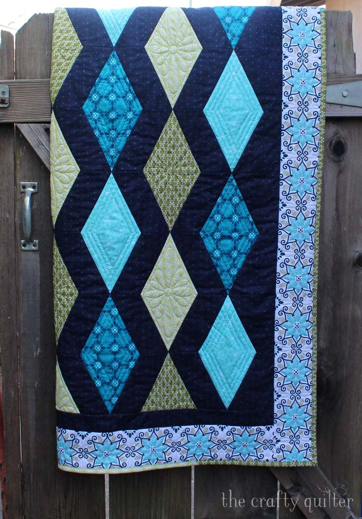 Diamond Twilight Quilt designed and made by Julie Cefalu of The Crafty Quilter Designs for Shelley Cavanna's Gloaming Fabric Blog Hop hosted by Benartex Fabric