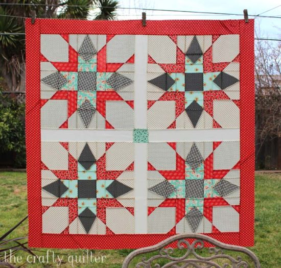 Franklin Star Quilt, baby size, made and designed by Julie Cefalu of The Crafty Quilter Designs