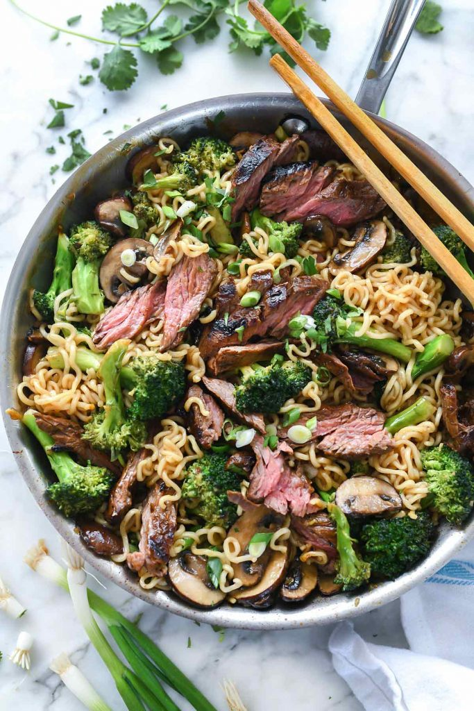 Ramen Noodles with Marinated Steak & Broccoli @ Foodie Crush