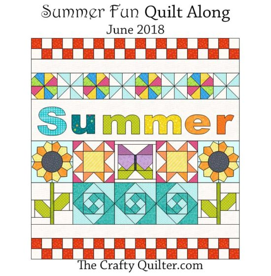 "The FREE Summer Fun Quilt Along starts June 1, 2018 at The Crafty Quilter.com This is a 30"" x 32"" wall hanging designed to add some sunshine to your space!"