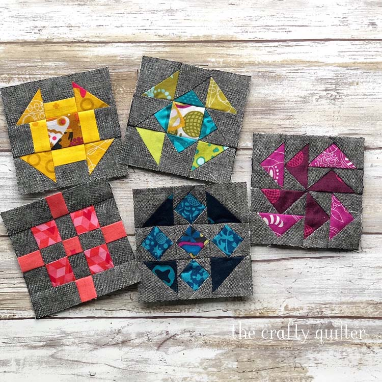"Quilter's Planner BOM. Smaller sized blocks (3"" finished) made by Julie Cefalu. Blocks 1 through 5"