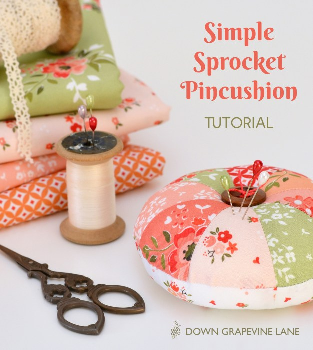 Simple Sprocket Pincushion by Sedef @ Down Grapevine Lane for Diary of a Quilter