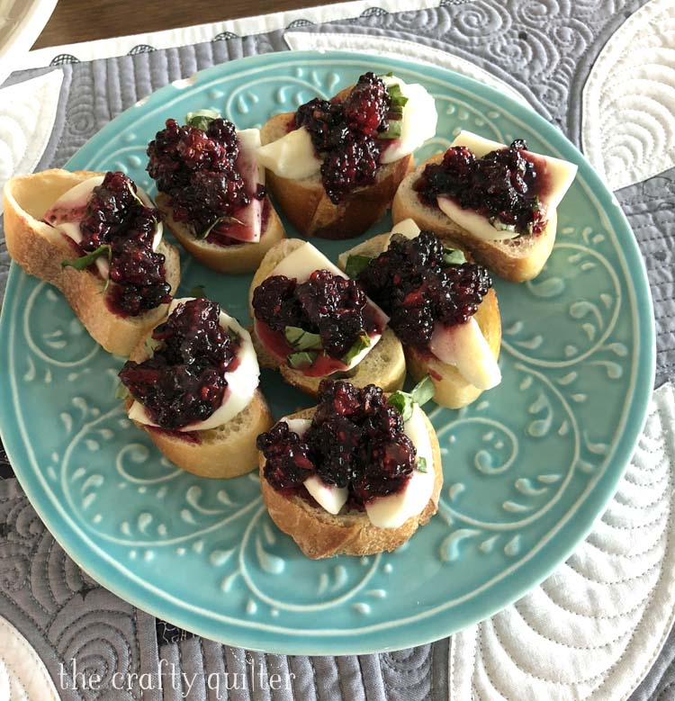 Summer Blackberry bruschetta from Julie @ The Crafty Quilter. An easy variation on a classic using blackberries instead of tomatoes.