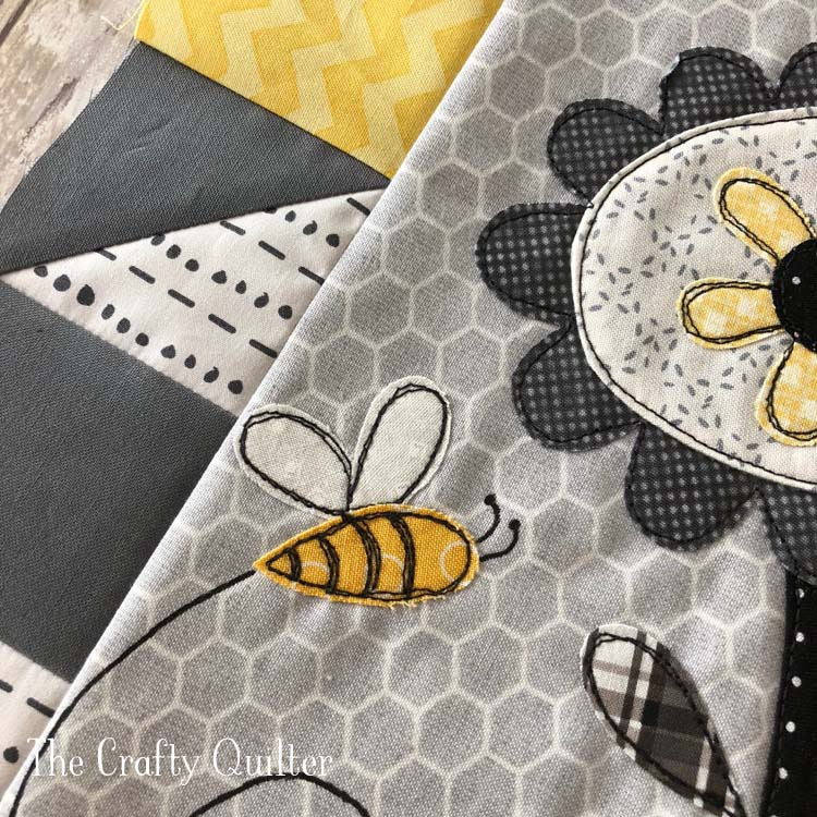 Save the Bees block #1 sneak peak.  Made by Julie Cefalu @ The Crafty Quilter
