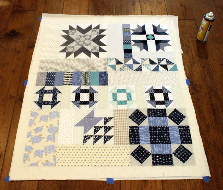 Vintage Sampler BOM, section 1 basted by Julie Cefalu @ The Crafty Quilter