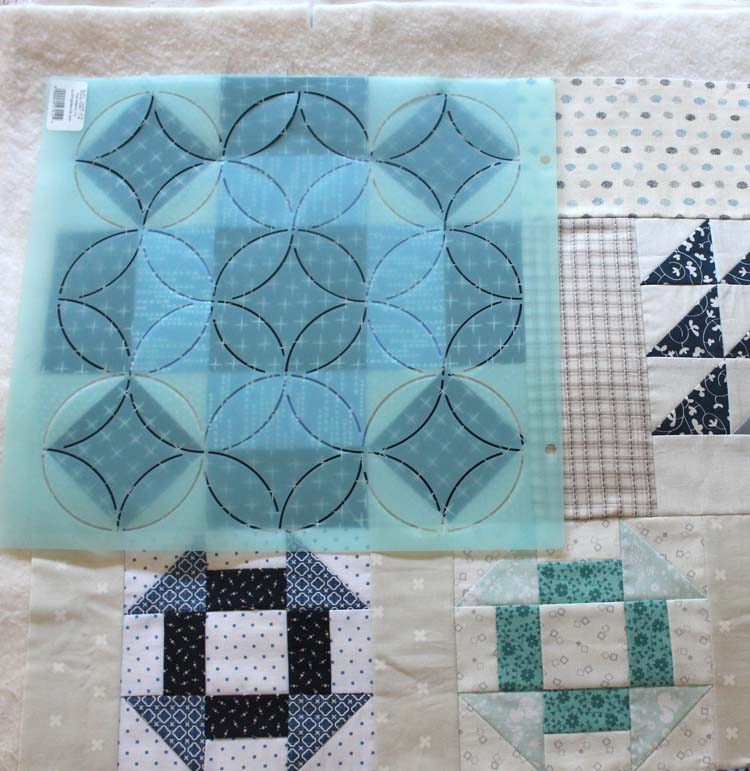 Vintage Sampler, Section 1. Quilting stencils being auditioned by Julie Cefalu @ The Crafty Quilter