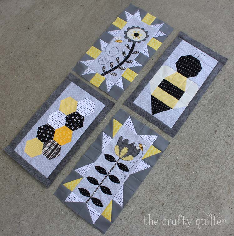 Save The Bees BOM by Jacquelynne Steves. Month 4 bee block made by Julie Cefalu @ The Crafty Quilter