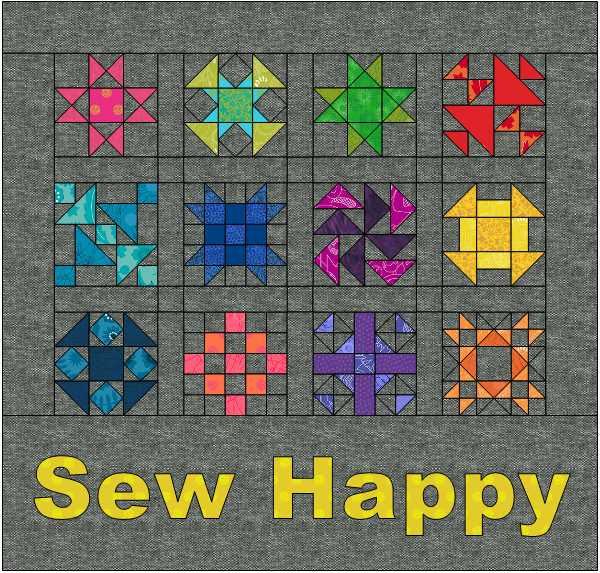 Sew Happy Mini Quilt in EQ8. Designed by Julie Cefalu @ The Crafty Quilter