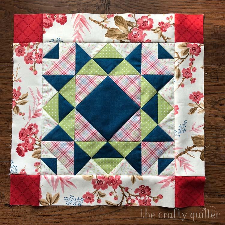 Quilt block made by Julie Cefalu. Designed by Nancy Rink for her El Camino Real BOM.