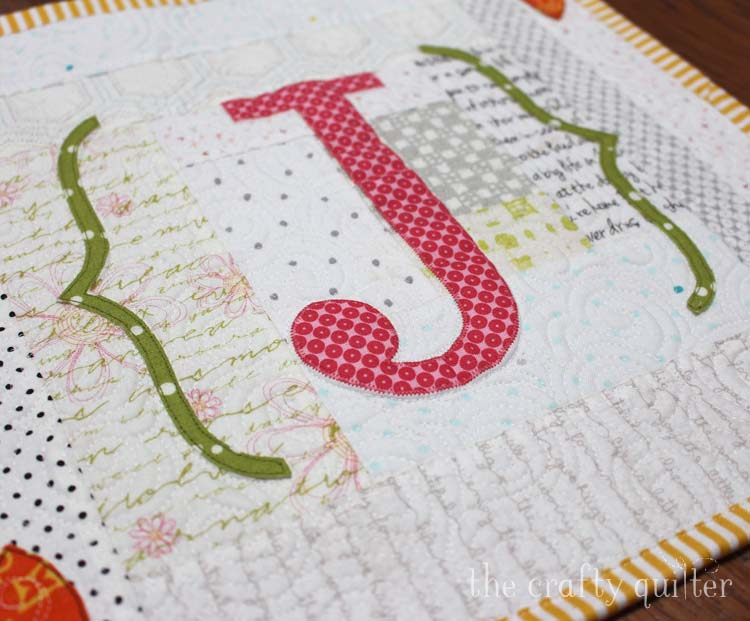 J is for Julie Monogram Mini Quilt made and designed by Julie Cefalu @ The Crafty Quilter