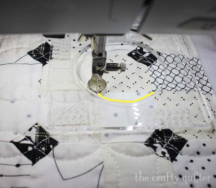 Free Motion quilting using a ruler foot and ruler @ The Crafty Quilter