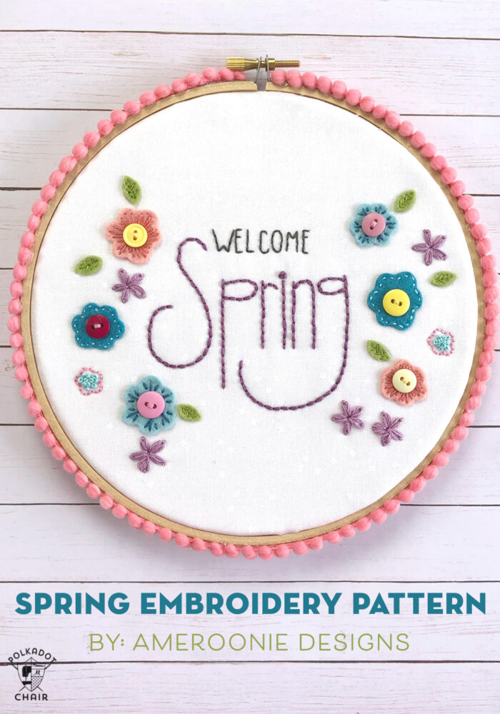Welcome Spring Embroidery Pattern by Ameroonie Designs; featured on Sew Thankful Sunday @ The Crafty Quilter